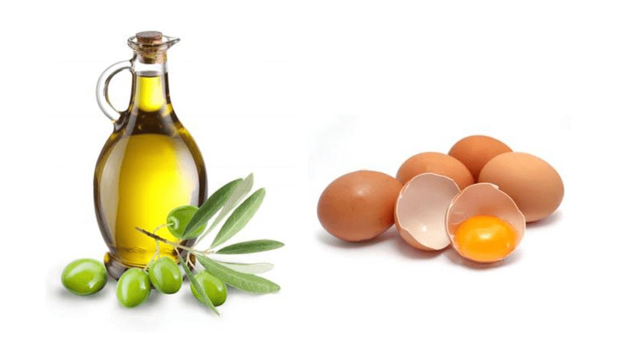 mặt nạ từ lòng trắng trứng và dầu oliu
