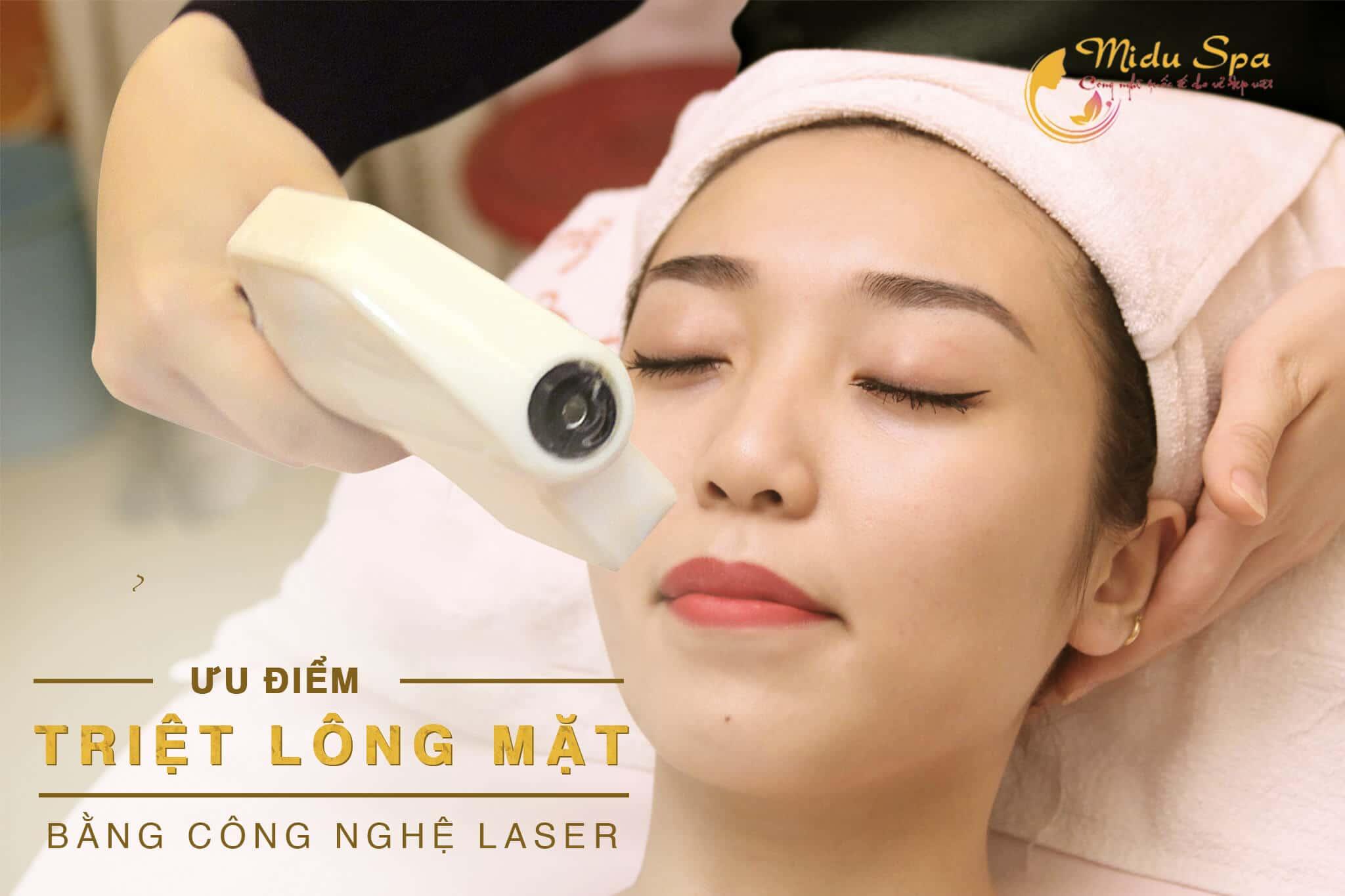 ưu điểm triệt lông mặt bằng laser