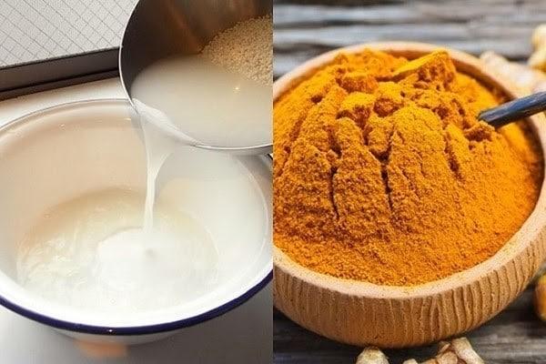Hỗn hợp nghệ và nước vo gạo đem đến nhiều công dụng cho làn da mụn