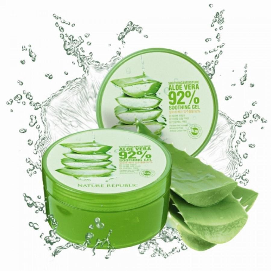 Gel lô hội Nature Republic Aloe Vera chứa tới chiết xuất 92 % lô hội và các hoạt chất an toàn cho da