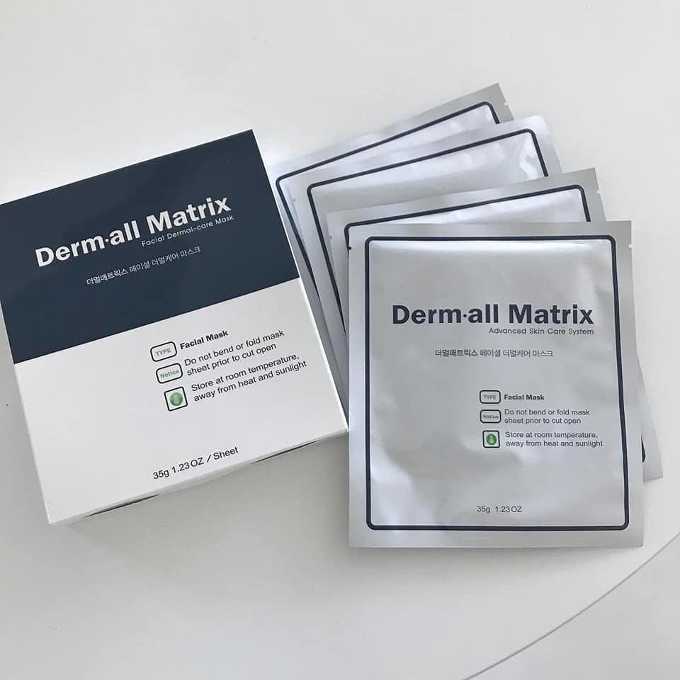Mặt nạ Derm all Matrix cung cấp hàm lượng dồi dào vitamin C và E để nuôi dưỡng cho da luôn căng mịn