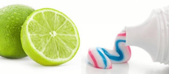 Chanh cùng kem đánh răng loại bỏ mụn.