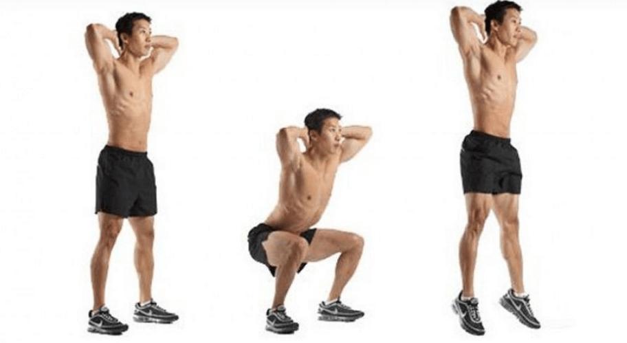 Các bước cơ bản để thực hiện jumping squat.